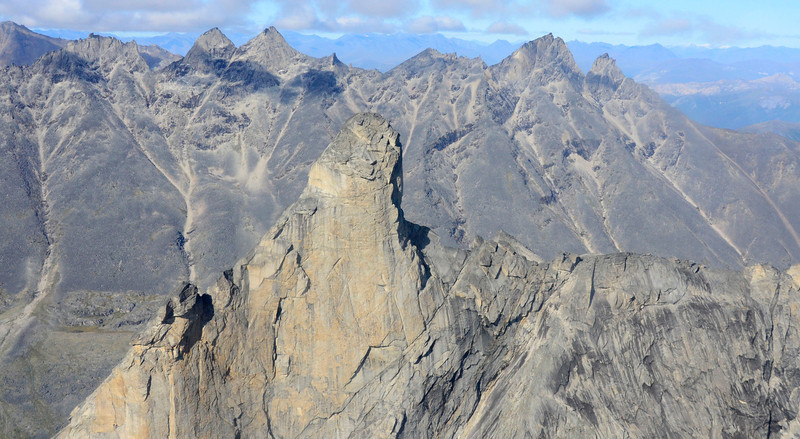 """Next to Patagonia, the Brooks range has the most crags.  I had no idea that Alaska had this type of topography.  People actually climb to the top of the """"shelf"""" (in the center of picture)"""
