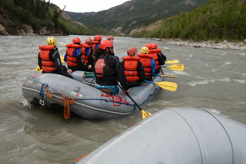 """Just pushing off shore behind the other half of our group, led by """"Wookie"""" (bearded guy closest to our raft)"""