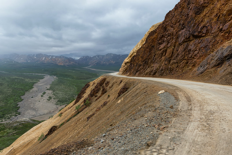 A section of the 91 mile Denali Park road.  It is the only road (one way) in the 6 million acre park.  Most of it is unpaved. Private vehicles not permitted beyond mile 15.