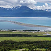 The Homer Spit in Homer, Alaska.  The spit juts out 4.5 miles into Kachemak Bay