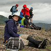 Jamie has just finished her lunch after a good hike.  Cold and windy up here and time to hike back down to camp.  This was our first hike  in Denali National Park (DNP) and our first experience with wet, spongy tundra.