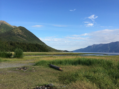 Looking out at the water in Hope, Alaska.