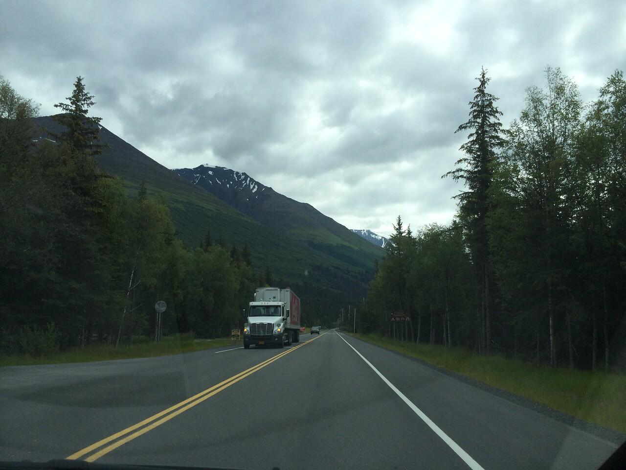 What a major highway looks like in Alaska.