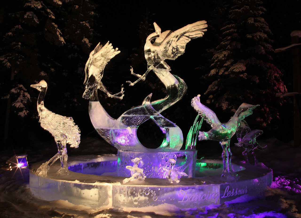 the ice sculptures were captivating and beautiful especially at night