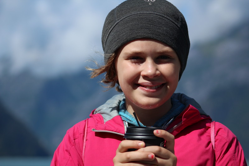 It was COLD near the glacier!  Luckily, the excursion book had plenty of free hot chocolate on hand to keep little hands warm.  :)