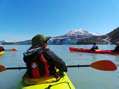 Kayaking toward Lamplugh Glacier, Glacier Bay National Park.