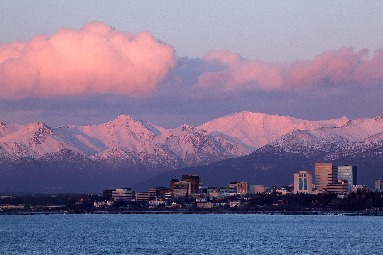 Anchorage sunset from Earthquake Park
