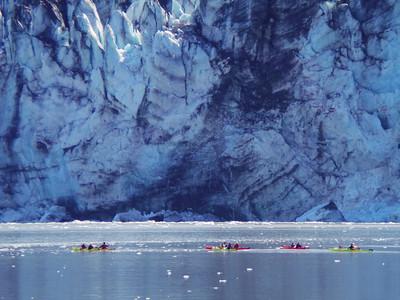 Some of our shipmates kayaking past Lamplugh Glacier, Glacier Bay National Park.
