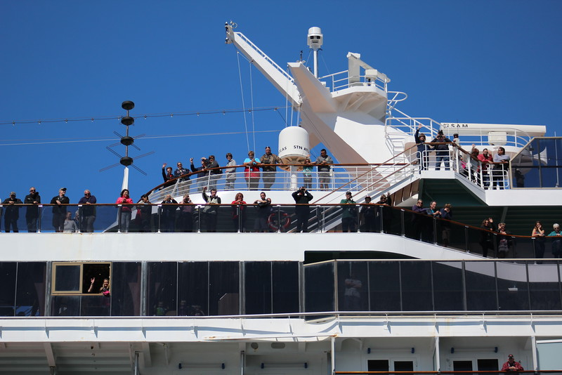 As we pulled away from the ship on our first excursion, our fellow  passengers bid us a bon voyage.