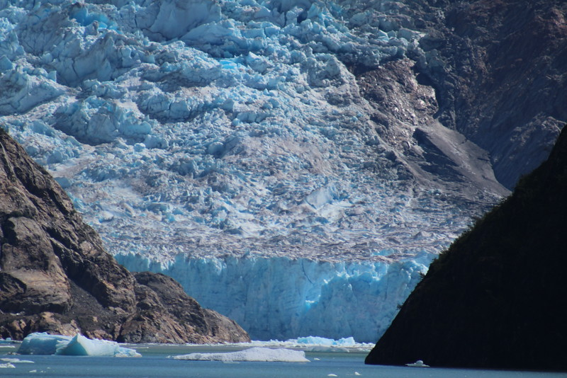 It looks like the front of the glacier is lit from within.