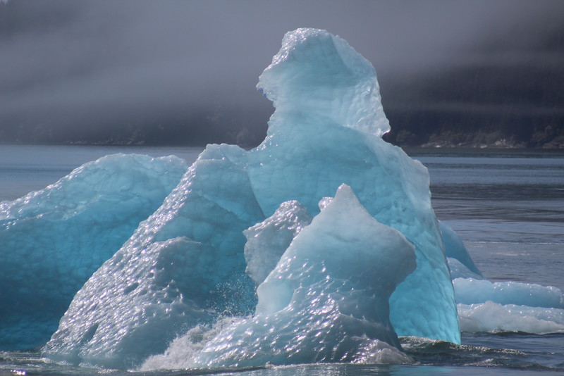 The icebergs looked as like they were lit from within.