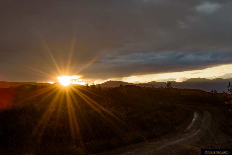 The sun rises illuminating Denali Park Road.