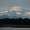 Mount Mckinley from Talkeetna, Alaska 400 miles away from Denali national park. Mount Mckinley is the highest peak of America and most prominent peak of the world. Half of it is hidden in clouds.