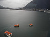 Day 2 - the crew used the stop in Juneau to practice lifeboat drills.  Notice the cruise ship on the far right.  That's the Princess ship we played cat-and-mouse with the whole time.