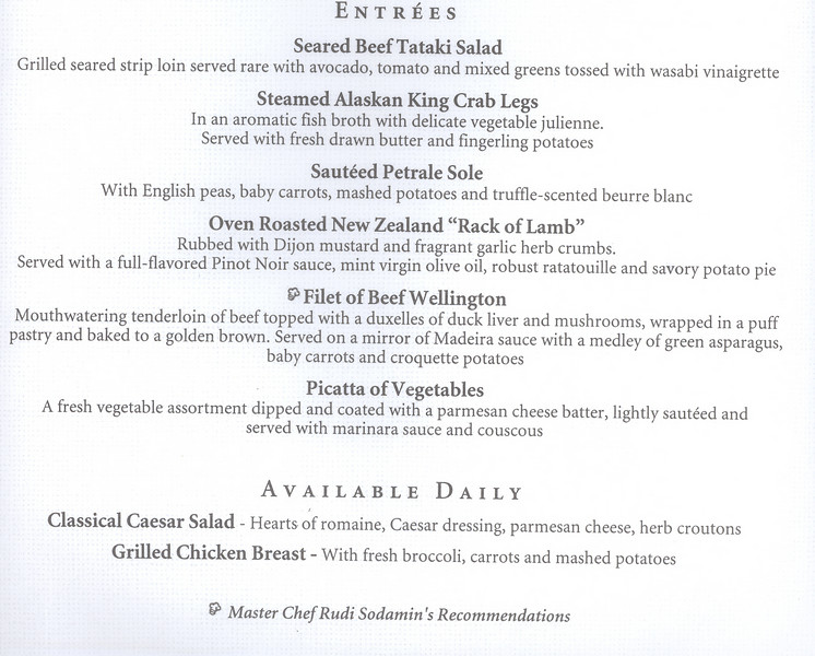 Captain's Gala Dinner menu part2