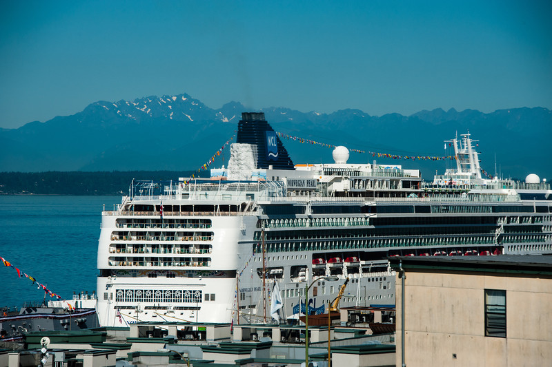 Cruise ship in the port in Seattle
