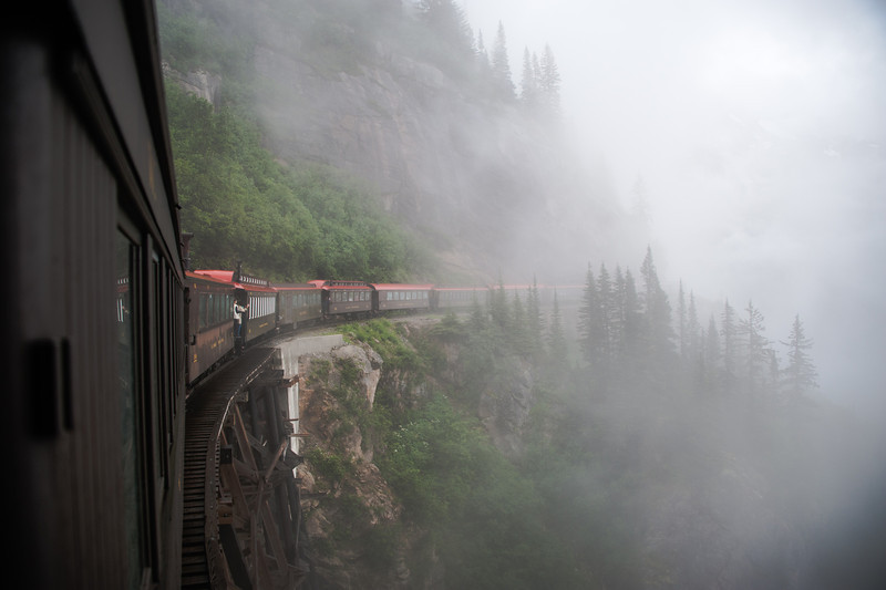 The back of the train covered in fog