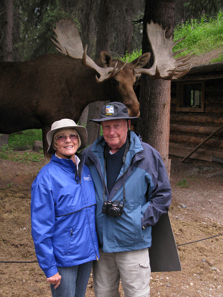 Minnie and Dick in front of a real (once)live moose.