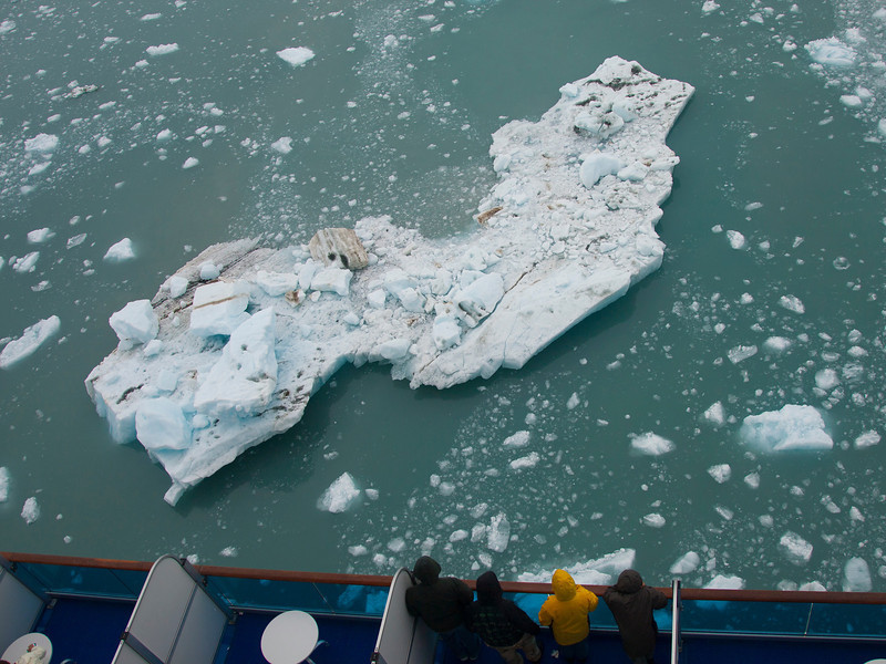 A little ice with that?  From our balcony looking down as the ship carefully navigates through ice chunks/bergs as we approach a glacier.  As much as 90% of an iceberg is beneath the surface, so a chunk like this has a LOT you can't see.