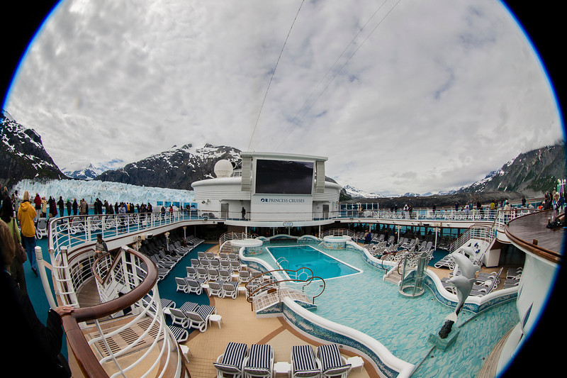 View of the big outdoor pool (and screen where they play movies), with both Glacier Bay glaciers in view