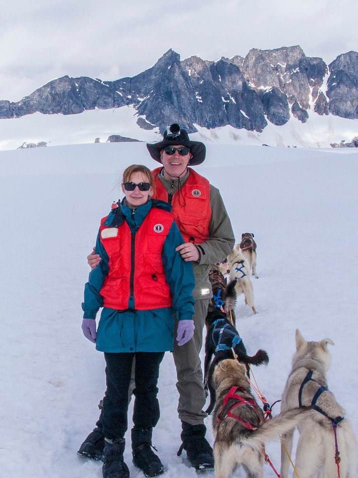 One of the high points (both figuratively and literally) of the trip for Cheri and me was dog sledding atop a mountain glacier.
