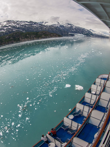 Departing Glacier Bay (far right)