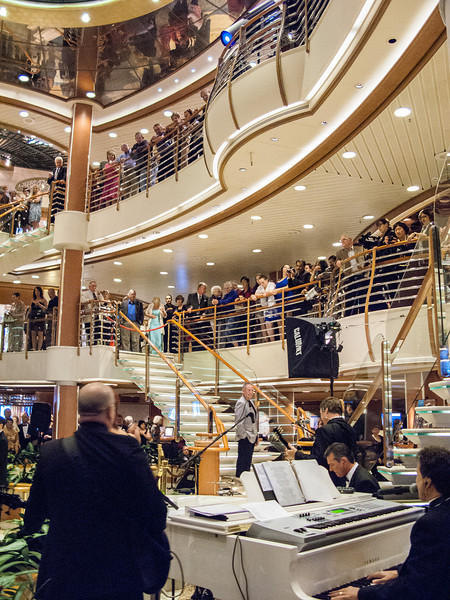 The ship's center atrium was filled with people in the evenings, when live music was always playing!