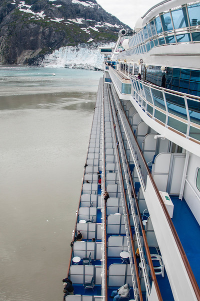View down the length of the ship with levels of cabins/balconies