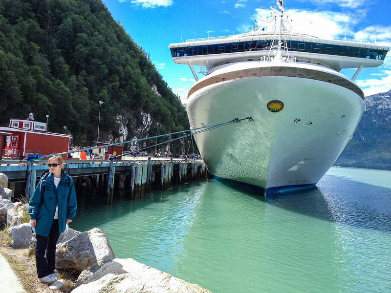 Cheri with our ship behind