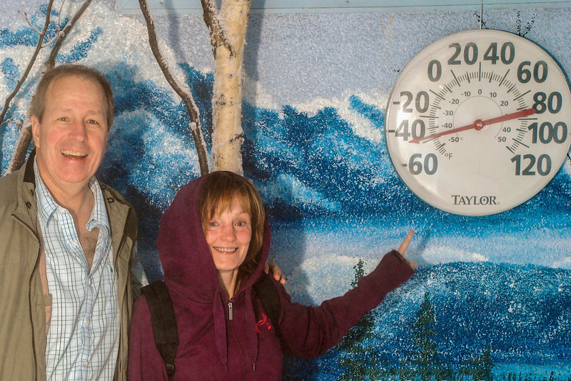 43 degrees below zero in Fairbanks!  Well, at least in a small room set up for tourists to see what that temp feels like (we'd last about 10 minutes dressed like that in the open at those temps!).