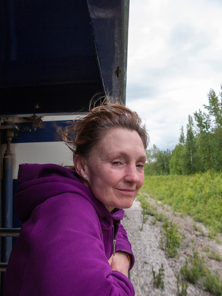 Leaning out between train cars...just another case where Cheri feels a kinship with dogs!