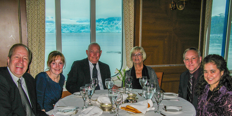 Our entire group, with Hubbard Glacier behind.  We had a table reserved for just the six of us every night for dinner.  Left to right: Bruce, Cheri, Dick, Minnie, Rick, Traci.