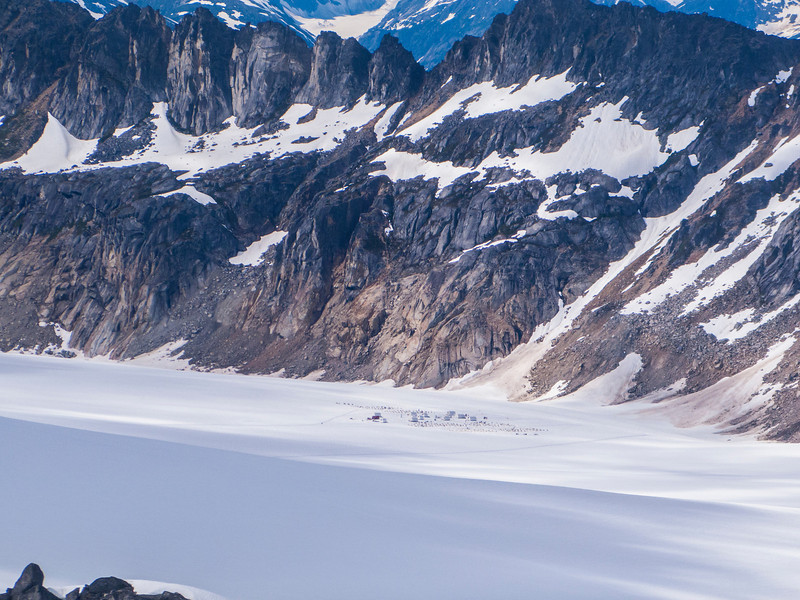 Our summer sled-dog camp atop one of these high glaciers.  This helicopter tour/sled-dog camp experience was one of the highlights of the trip - we highly recommend it!