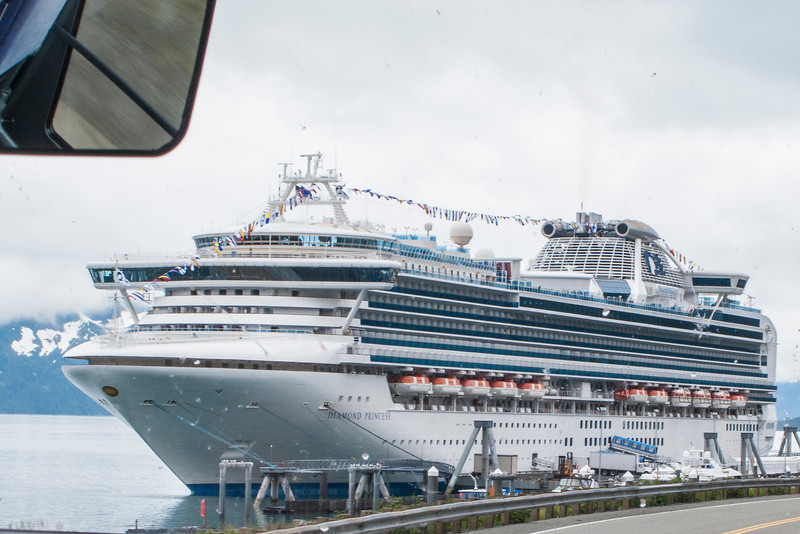 First glimpse of the mega-ship in Whittier, AK, on which we would begin the water portion of our trip!