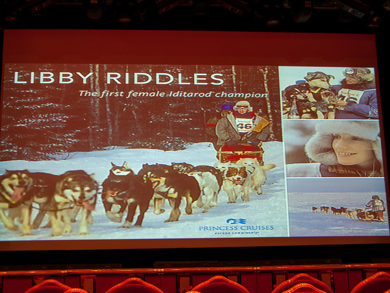 One of the onboard sessions was a presentation by Libby Riddles, the first woman to win the Iditarod.  It was a really interesting presentation, and gave us a much better understanding of what an amazing feat of endurance the Iditarod is (the winner usually makes it in 10-13 days, getting only a few hours of sleep a day.  The dogs are the real athletes, but the mushers pretty impressive, too!