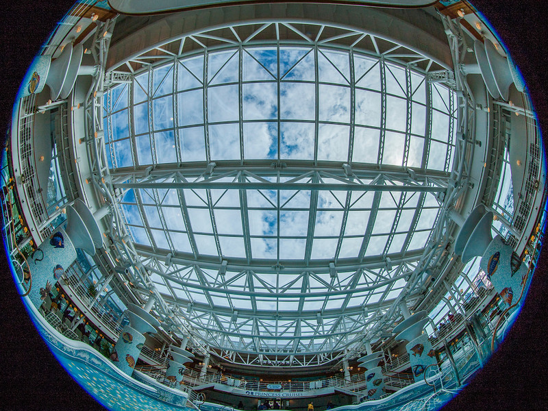 A view of the retractable roof above the center pool.