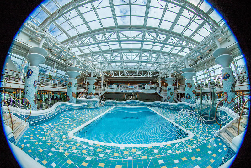 Another of the ship's pools, this one with a retractable roof (just like the one on Safeco Field where the Seattle Mariners play!).  Shot with a circular fisheye lens, partially zoomed.