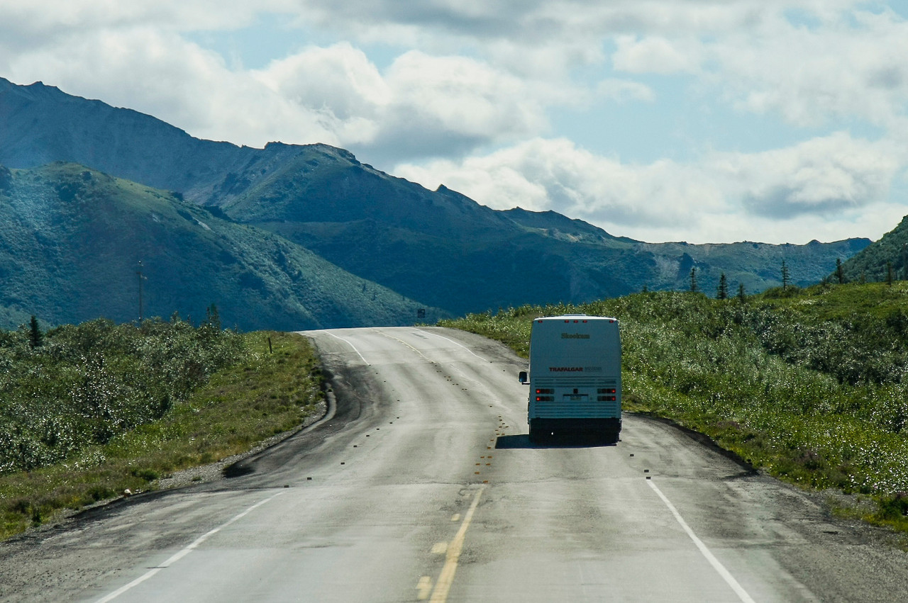 "All but the last leg of our land tour (which was on a train) was by ""motorcoach"" (aka bus).  The uneven highways are due to areas of thawing permafrost, which cause the highways to buckle in places."