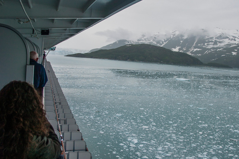 "The glacier inlets for both Glacier Bay and Hubbard Glacier are full of ice ""chips"" (some the size of small houses) that have broken off the glaciers."