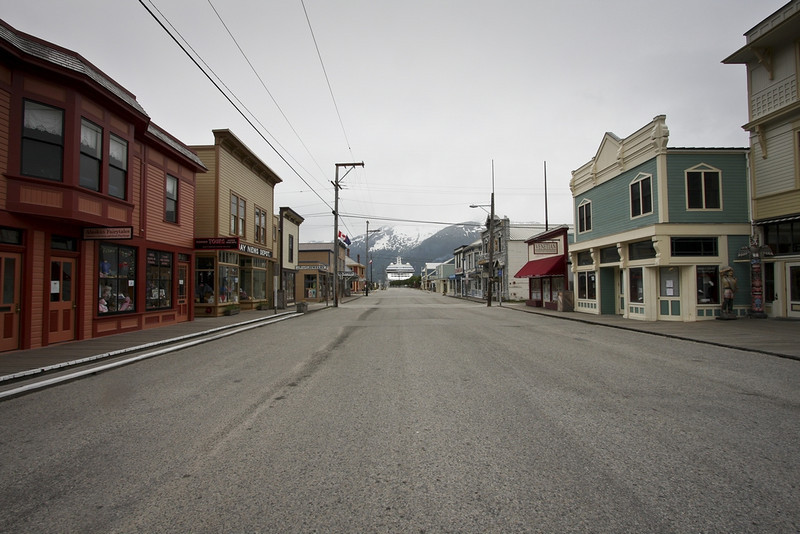 Skagway at 4am, looking towards the bay - yes, that's a cruise ship docked at the end of the street!