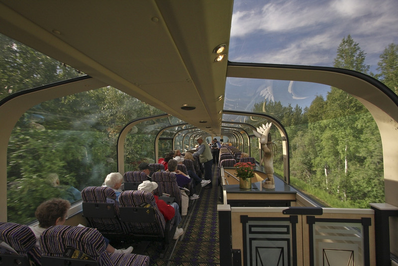 Riding the luxurious McKinley Explorer from Fairbanks to Denali - stairway leads to Dining Car below.
