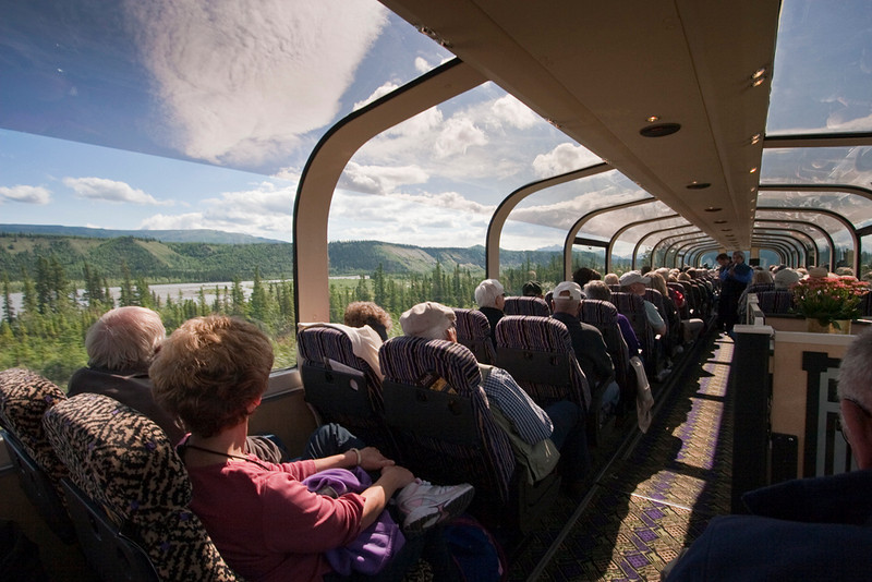 Riding the luxurious McKinley Explorer from Fairbanks to Denali - stairway leads to Dining Car