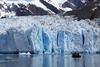 Approaching the Sawyer glacier in a Zodiak.