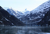 Entering the Tracy Arm toward the Sawyer glacier, with patches of sea ice on the water.