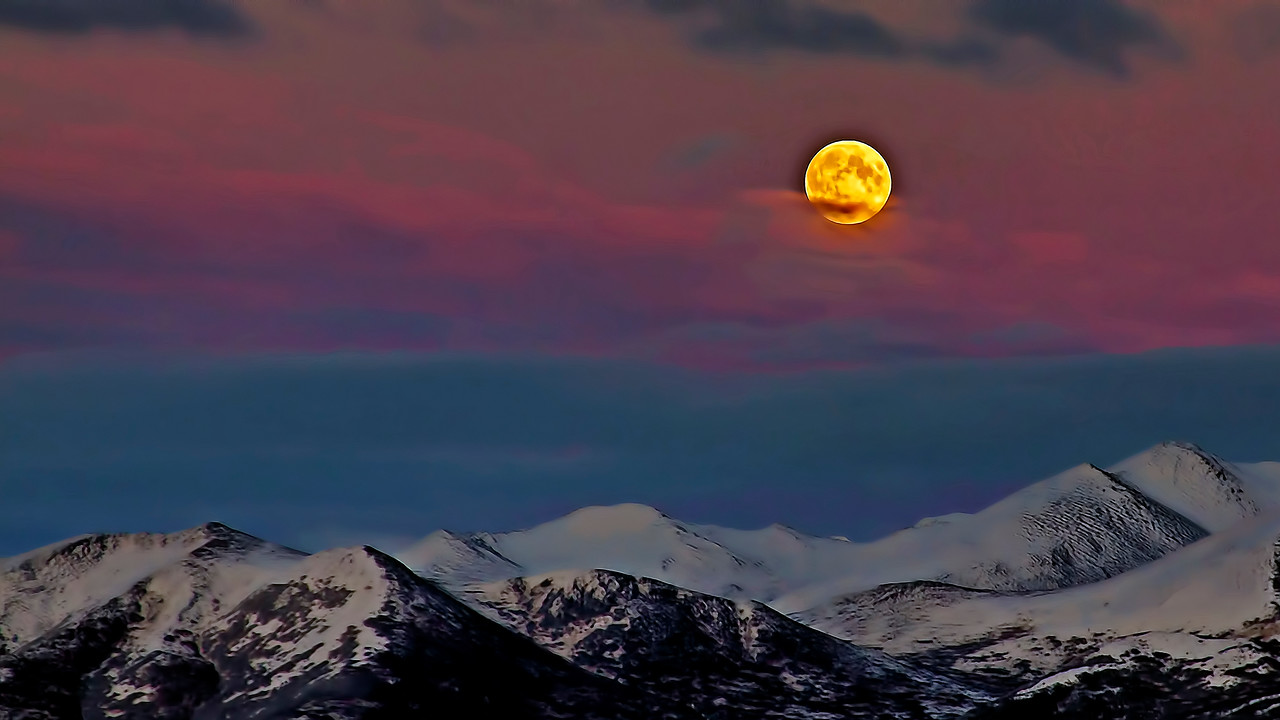 Moon Over Chugach Mountains East of Anchorage Alaske
