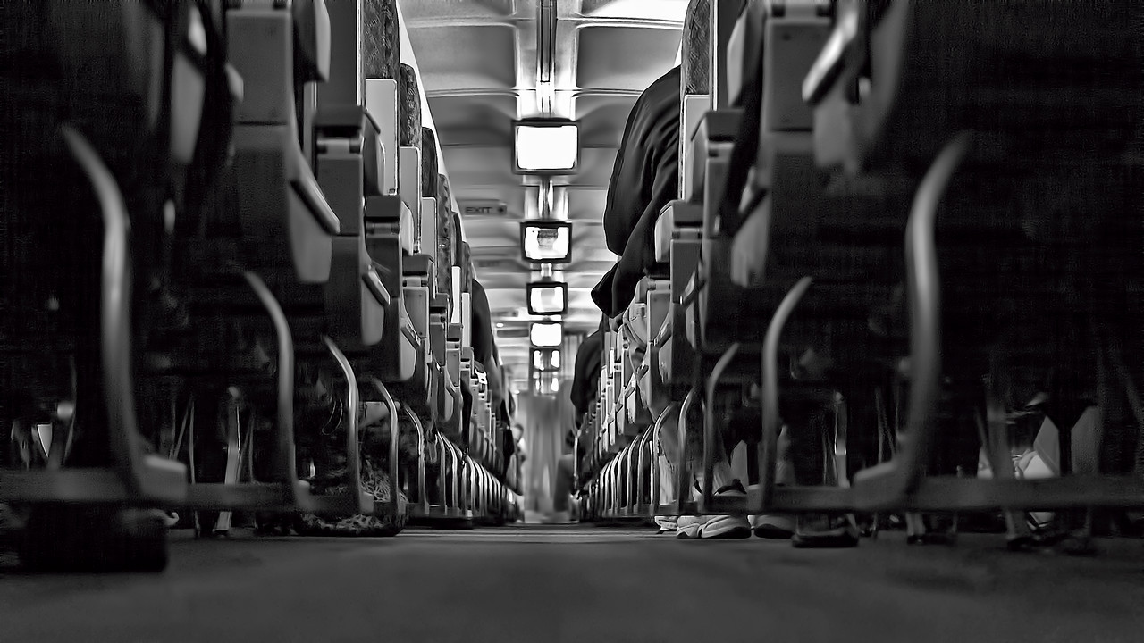 American Airlines Boeing 757 Aisle and Seat Study Black and White Photography