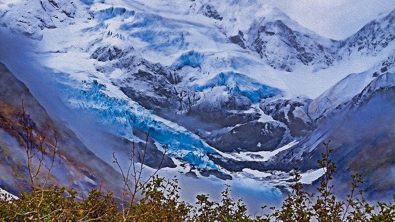 Glacier Portage Valley Alaska Oil Painting Effect