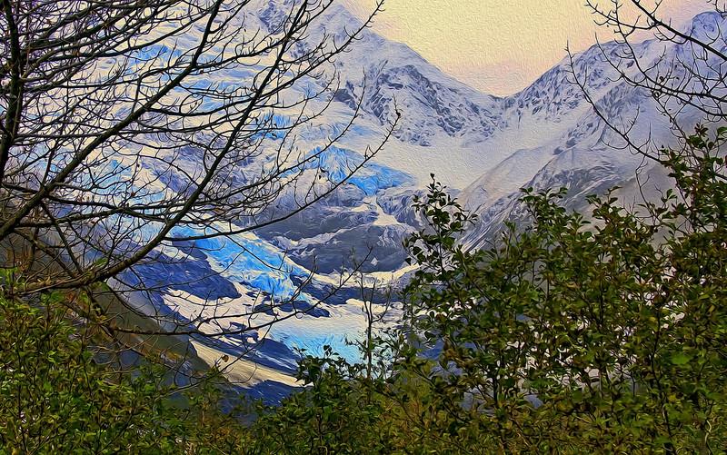Byron Glacier Portage Lake Alaska Oil Paint Effect