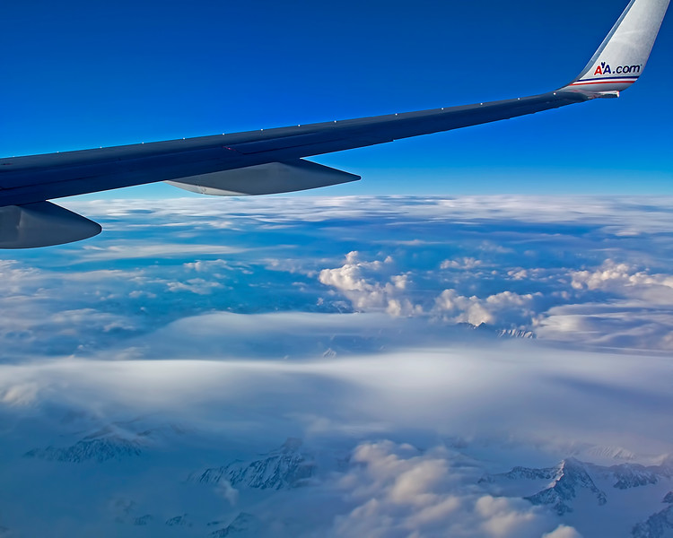 American Airlines Dallas to Anchorage Over Snow Capped Mountains