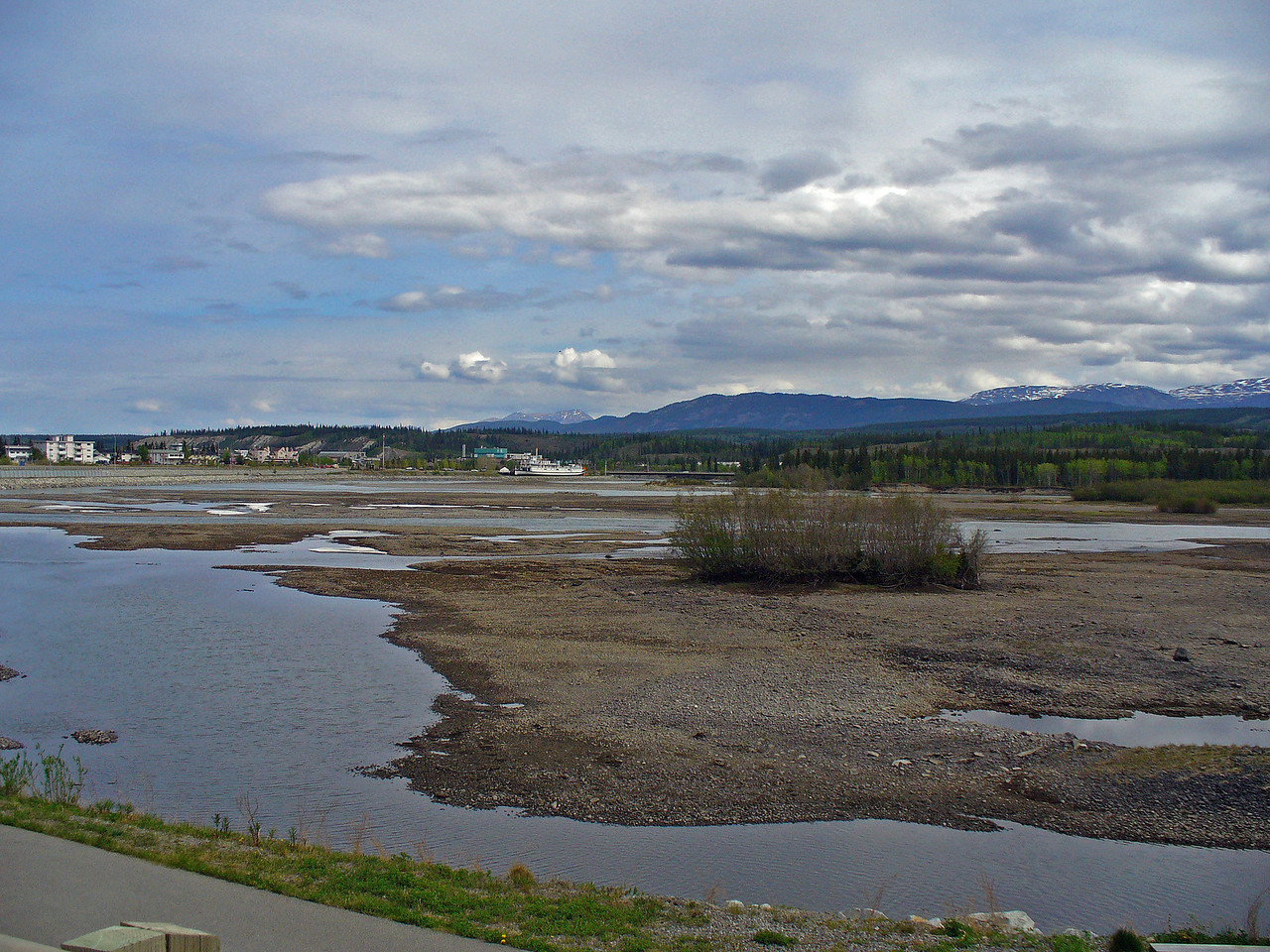 Yukon River going through Whitehorse and that's snow and ice still in the water